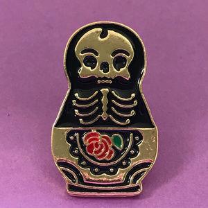 Jewelry - Matryoshka Skeleton  Doll Enamel Pin
